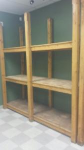 Heavy duty wooden shelving units