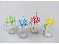 90 x Glass Jam Jar with handles and checkered lids.