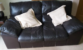 brown leather 2 seater settee and armchair