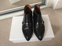 Black leather ankle boots, size 36