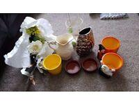 Various garden plant pots, vases, flowers etc