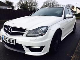 2012 MERCEDES C63 AMG LOW MILES FULL MERCEDES SERVICE HISTORY NEW MOT PEARL WHITE PX POSSIBLE