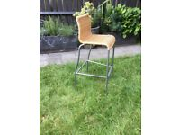 Bar stool with wicker seat