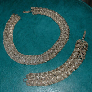 Handmade Silver Coil Collar Necklace & Matching Bracelet