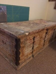 Antique wooden chest/tack trunk