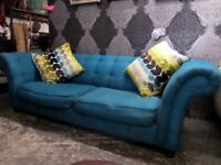 Stunning Chesterfield 3.5 Seater Sofa Turquoise Fabric From DFS - UK Delivery
