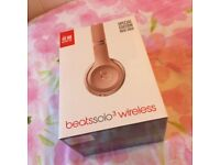 Rose gold Beats by Dre Solo3 wireless headphones