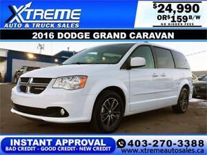 2016 Dodge Grand Caravan SXT $159 bi-weekly APPLY NOW DRIVE NOW