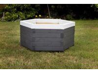 New Painted Hexagonal Wooden Planter H = 30cm L = 60cm