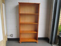 TALL PINE BOOKCASE WITH THREE SHELVES SHELVING UNIT FREE DELIVERY