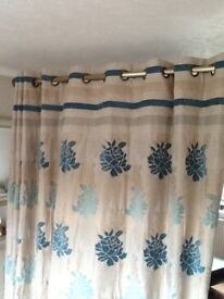 9ft wide /7ft drop fully lined ring top curtains with 7 matching cushions