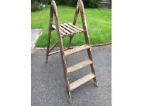 Characterful vintage wooden step ladder. Sturdy but lightweight.