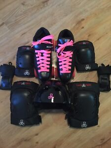 Riedell roller skates and safety gear
