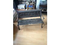 Vintage Children's Wooden / Iron Garden Chair Seat Antique Shabby Chic Ornament