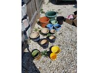 16 x used plant pots ceramic and plastic