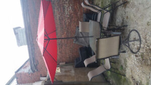 Patio Set (table, 6 chairs, and umbrella)