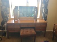 Dressing table with 3 part mirror, 5 drawers, and velvet stool