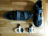 Shimano cycling shoes + quality pedals and cleats