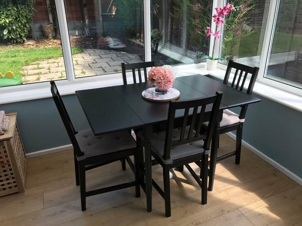 Sold ikea ingatorp drop leaf dining table four ikea - Ikea dining table with 4 chairs ...