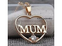 9ct gold plated mum necklace