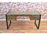 Java Rustic Salvaged Boatwood Industrial Office Desk with Laptop Storage - Free Delivery - New