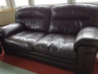 Quality leather 3 seat sofa and 2 matching arm chairs