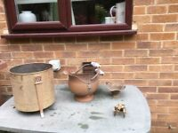 Coal scuttle and other brassware
