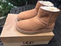 Authentic UGG Classic Mini II Chestnut Suede Boots, UK Size 5.5