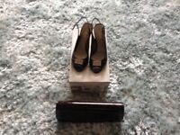 Ladies 3 inch heel shoes and matching handbag