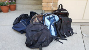 Various backpacks and gymbags