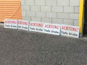 """5 Vintage movie props """"ACHTUNG! TIEFE GRUBE"""" signs !"""