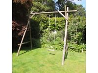 Large garden swing with rope ladder