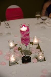 Wedding Centerpiece Vase, tealights, mirror tiles