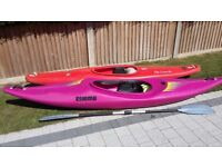 Two canoes with paddles in good condition