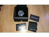 Garyton black leather watch