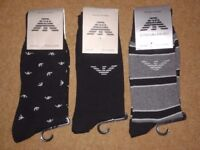 3 X EMPORIO ARMANI MEN'S SOCKS STRIPED EAGLE & SOLID