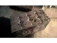 Silver crushed velvet ottoman box