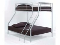 🔥💥🚚**FREE DELIVERY**🔥💥🚚- Alex Triple Metal Bunk Bed and Mattress Trio Sleeper -FAST DELIVERY
