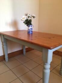 Beautiful farm style dining table with Annie Sloane chalk painted legs