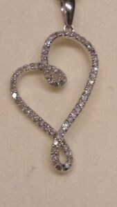 "0.25 TDW Diamond pendant ""Hanging Heart"" on 10K White gold chain"