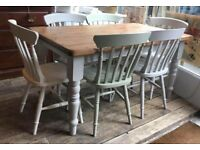 Shabby Chic Pine Dining Table With Six Painted Distressed Chairs