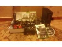 Xbox 360slim all leads HDMI 1controller with Guitar hero 4 games