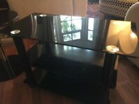 Black Glass TV Stand With Matching Table