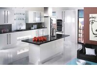 Complete white gloss slab kitchen £895. Includes 10 x units and appliances.