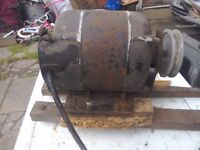 Here is electric motor 1/3 with pully and lathe end tex