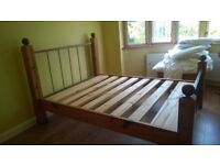 Wood and metal king size bed frame