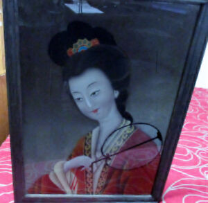 BEAUTIFUL ANTIQUE ORIENTAL REVERSE PAINTING ON GLASS