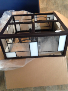 Black and White Stained Glass Hanging Box Light