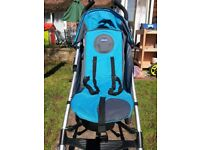 Chicco Liteway Stroller - blue, foldable, complete with shopping basket, rain cover & footmuff