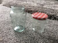 Glass jam jars
